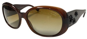 Chanel POLARIZED Sunglasses Brown camellia Flowers with CHANEL Case