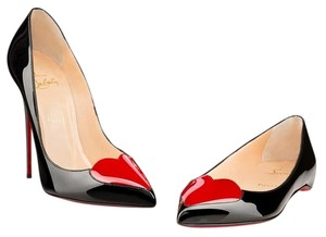 Christian Louboutin Patent Leather Pointed Toe Heart Embellished Corafront Black, Red Pumps