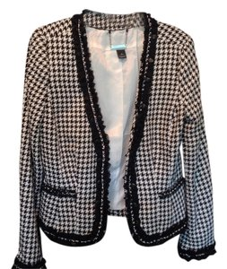 White House | Black Market Wool Houndstooth Black and white Blazer