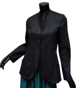 Lilith Lagenlook Avant Garde French Designer Fitted Pleated Black Jacket