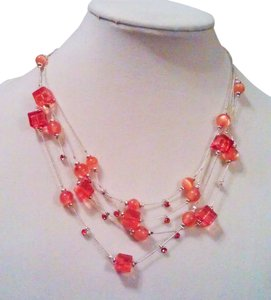 Mixit Mixit Tangerine Crystal Drops Necklace