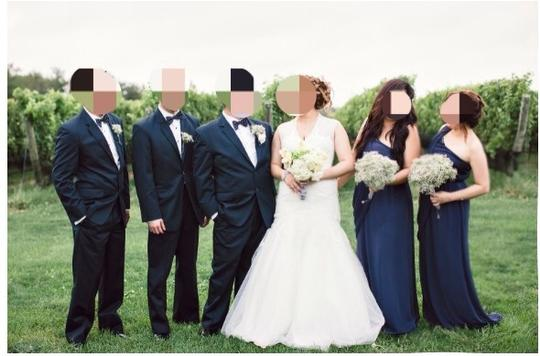Max and Cleo Navy Bridesmaid/Mob Dress Size 4 (S)