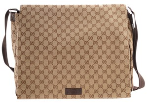Gucci Messenger Gg Canvas Cross Body Beige & Brown Messenger Bag