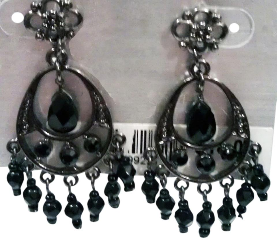 Worthington jet black crystal black hematite finish antique inspired worthington antique inspired small jet black crystal chandelier earrings by worthington aloadofball Image collections