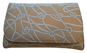 Hollywould Fabric Nautical Beige, white Clutch