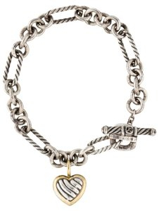 David Yurman Sterling silver 18K gold David Yurman Heart wheat chain link bracelet New