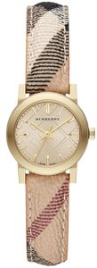 Burberry 100% New Authentic Swiss Made Burberry Gold Watch, Women's Swiss Haymarket Check Strap 26mm BU9219