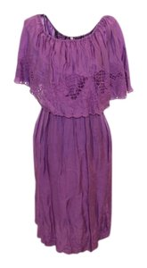 Free People short dress Purple 70's Off-shoulder on Tradesy