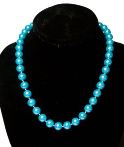 Other New Blue Glass Pearl Necklace 10mm 18 Inch Jewelry J2254