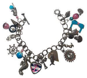New Handmade Beach Charm Bracelet Anchor Fish Silver Pink Blue J2255