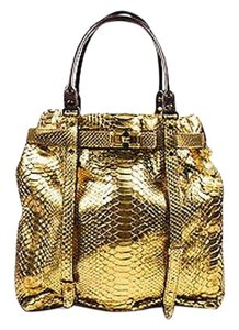 Lanvin 4500 Metallic Python Leather Trim Kansas Tote in Gold