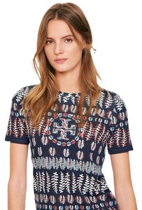 Tory Burch Fern Pima Cotton T Shirt Navy