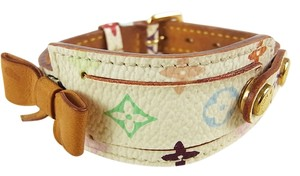 Louis Vuitton LOUIS VUITTON Porte Adresse Multi-Color White Multicolore Leather Bracelet Bangle