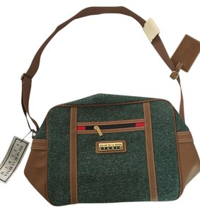 Oscar de la Renta Tweed Carry On Vintage Green Travel Bag