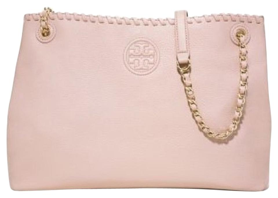 db97c0742fe Tory Burch Marion Chain Slouchy Tote Light Oak Pink Beige Leather Shoulder  Bag