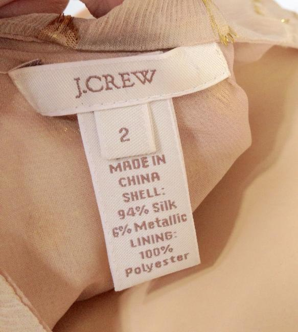 J.Crew Silk Metallic Polka Dot Top Cream/Gold