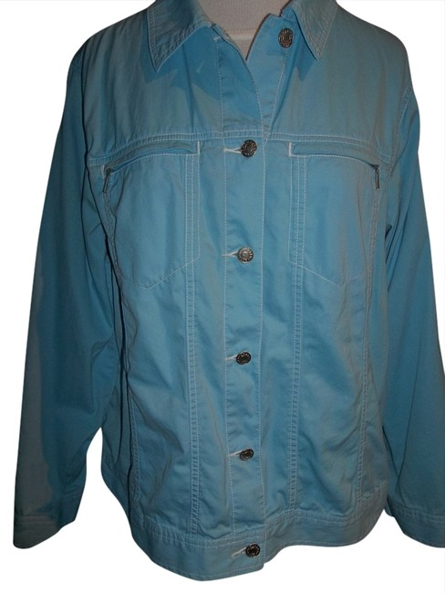 Charter Club Western Cut Size 1x Denim Style Features Light Teal Blue Jacket