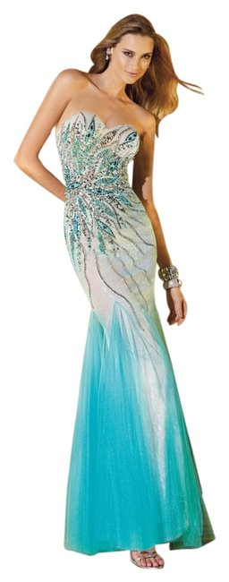 Alyce Designs Prom Beaded Lace Underlay Prom Pageant Strapless Sweetheart Trumpet Turquoise Dress