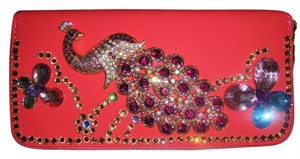 Swarokski Swarovski encrusted old rose pink zip around long wallet