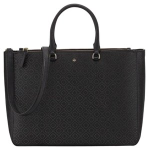 Tory Burch Robinson Large Double Zip Tote Satchel in Black