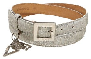 Versace Versace Gray Metallic Leather Belt (Size 100)