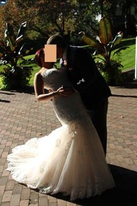 Maggie Sottero Blush (Ivory Lace Over Blush) Pink Satin with Overlay Marianne Sexy Wedding Dress Size 12 (L)