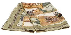Hermès Hermes Green Multicolor Horse and Carriage Silk Scarf