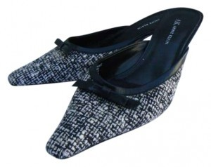 Anne Klein Black and White Mules