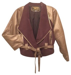 Twin's Leathe Biker Gold Brown Leather Jacket