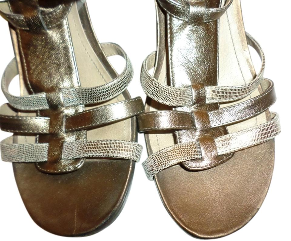 049d453c72de Kenneth Cole Dull Gold Reaction Pine Language Strappy Sandals Size ...