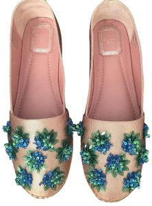 Dior Christian Beaded Flower Espadrilles Pink Flats