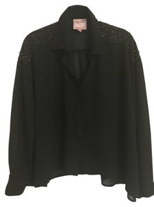 Romeo & Juliet Couture Sequin Button Down Shirt Black