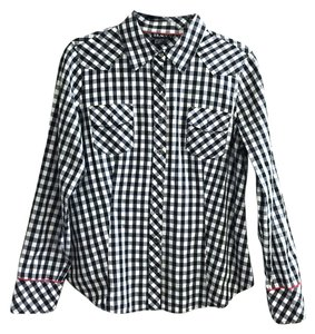 Tracy M Button Down Shirt Black and White Checkered