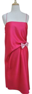 Lanvin Silk Fuchsia Draped Bow Dress