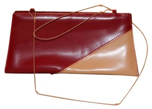 Leather Purse Tote Cloth RED AND ALMOND Clutch