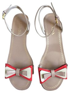 Prada Nude with Orange Accent Sandals
