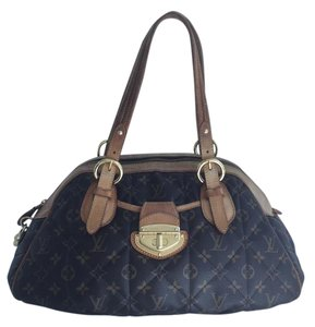 Louis Vuitton Leather Canvas Bowler Shoulder Bag
