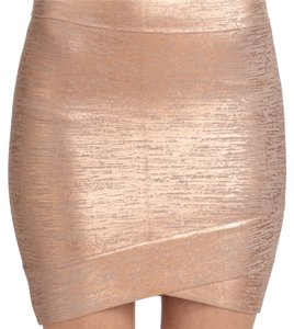 BCBGMAXAZRIA Mini Skirt Metalic Rose Gold