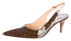 Louis Vuitton Lv Monogram Pointed Toe Gold Hardware Slingback Brown, Beige Pumps