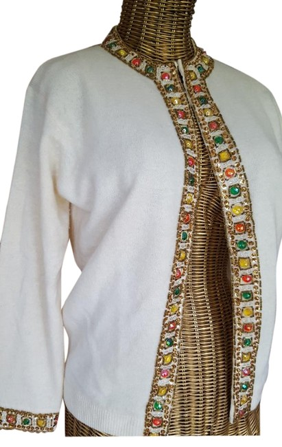 Preload https://img-static.tradesy.com/item/134072/ivory-with-multi-color-gem-and-gold-beading-vintage-beaded-cardigan-sweaterpullover-size-4-s-0-2-650-650.jpg