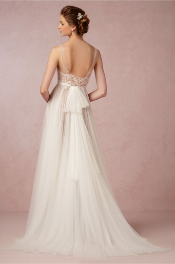 BHLDN Ivory/Bronze Tulle Polyester Lining Penelope Gown Vintage Wedding Dress Size 4 (S) Image 3