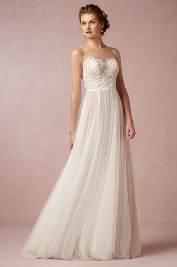 BHLDN Ivory/Bronze Tulle Polyester Lining Penelope Gown Vintage Wedding Dress Size 4 (S) Image 4