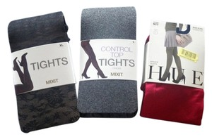 Hue Black, Grey and Red Bundle of Tights