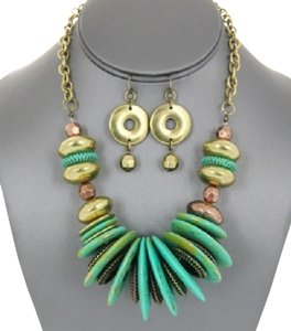 Boho Tribal Disc Turquoise And Antique Gold Necklace And Earrings
