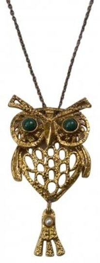 Preload https://img-static.tradesy.com/item/134076/gold-metal-green-enamel-and-pearl-owl-pendant-necklace-0-0-540-540.jpg