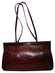 Antonio Melani Leather Satchel in burgandy
