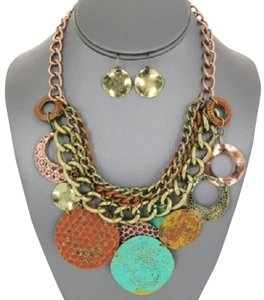 Other Boho Tribal Disc Turquoise Rust Patina Antique Gold Necklace And Earrings