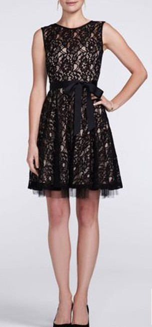Item - Black Lace and Poly/Nylon/Cotton Blend A14209 Vintage Bridesmaid/Mob Dress Size 4 (S)