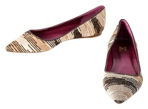 Missoni Leather/Metallic Brown Crochet-knit Pointy Multicolor Flats