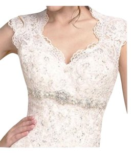 Maggie Sottero Ivory Over Champagne Lace Bernadette Vintage Wedding Dress Size 8 (M)